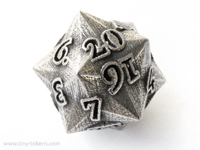 Faceted - D20 numerically balanced dice in Polished Bronzed-Silver Steel