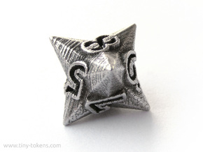 Faceted - D8, eight sided gaming dice in Polished Bronzed-Silver Steel