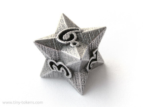 Faceted - D6, six sided gaming dice in Polished Bronzed-Silver Steel