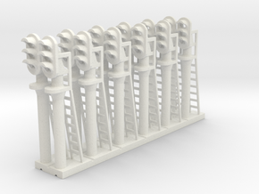 Block Signal 3 Light (Qty 12) - N 160:1 Scale in White Natural Versatile Plastic