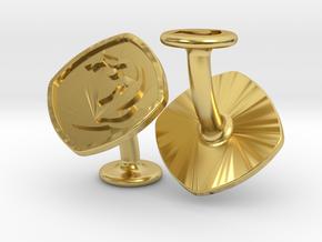 Cufflinks MTG Red Mana Symbol (Mountain) in Polished Brass