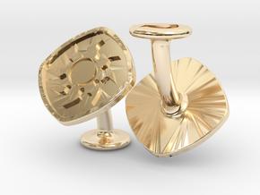 Cufflinks MTG White Mana Symbol (Plains) in 14k Gold Plated Brass