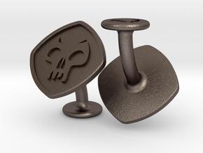 Cufflinks Black Mana Symbol (Swamp) in Polished Bronzed-Silver Steel