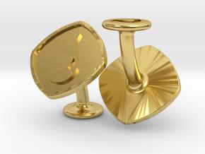 Cufflinks MTG Blue Mana Symbol (Island) in Polished Brass