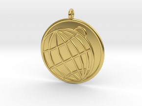 Planetology Symbol in Polished Brass