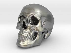 Skull 30 mm in Natural Silver