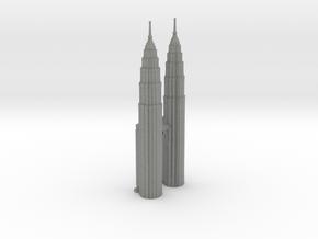 Petronas Towers w/o Mall - Kuala Lumpur (6 inch)  in Gray PA12