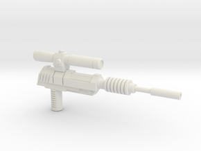 Megatron Pistol, Silenced (3mm & 5mm grips) in White Natural Versatile Plastic: Large