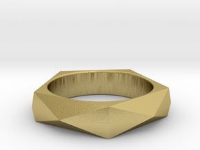 Faceted Ring in Natural Brass