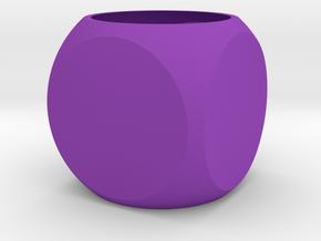 Faceted Cube Planter in Purple Processed Versatile Plastic