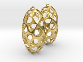 Cell Earrings in Polished Brass