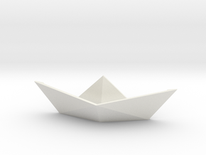 Paper boat pin3D (magnetic pin) in White Premium Versatile Plastic