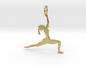 lady in Yoga Pose Pendant in Natural Brass