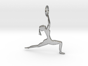 lady in Yoga Pose Pendant in Natural Silver
