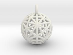 Earth Grid - disdyakis triacontahedron - 26mm diam in White Natural Versatile Plastic