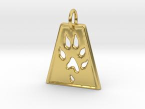 Small Ferret Paw Print - Geometric in Polished Brass