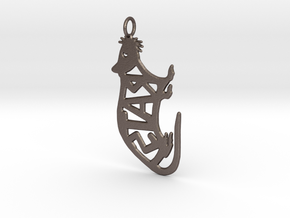rat keychain 2 in Polished Bronzed-Silver Steel
