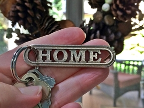 HOME Keychain Housewarming Gift in Polished Bronzed-Silver Steel