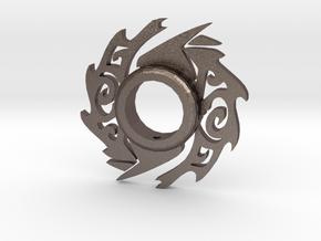 Wolf Lightsaber Tsuba in Polished Bronzed-Silver Steel