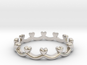 Scalloped Heart Edge Ring (Multiple Sizes) in Platinum: 4 / 46.5