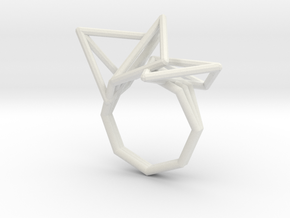 Geo Ring Wireframe Tall (110%) in White Natural Versatile Plastic