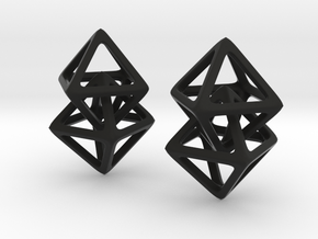 Hanging Octahedron in Black Natural Versatile Plastic