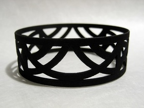 Art Deco Bangle Bracelet  in Black Natural Versatile Plastic: Small