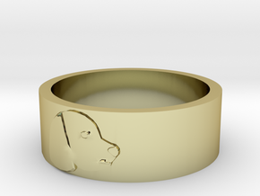 Dog's profile ring(large) in 18k Gold Plated Brass