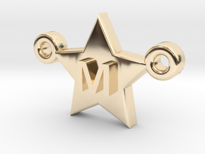 Customizable Star Letter Pendant -1,45cm in 14K Yellow Gold