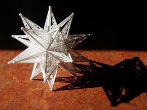 10 cm Great Stellated Dodecahedron in White Strong & Flexible