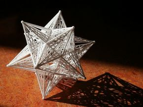 10 cm Small Stellated Dodecahedron in White Strong & Flexible