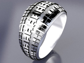BMX Tire Tread Ring in Polished Bronzed Silver Steel