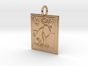 Cat View Pendant in Polished Bronze