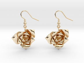 Rose Earrings in 14K Yellow Gold