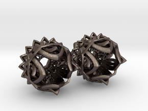 Plugs gauge Lotus Flower / size 3/8  (10mm) in Polished Bronzed Silver Steel
