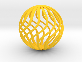 Spherical Wave Ornament in Yellow Processed Versatile Plastic