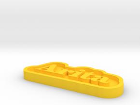 Arita Name Tag in Yellow Processed Versatile Plastic