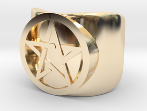 Pentacle Ring - thick in 14k Gold Plated Brass: 10 / 61.5