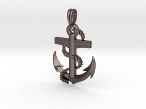 Anchor Dainty, Simple, Minimalist Necklace in Polished Bronzed-Silver Steel
