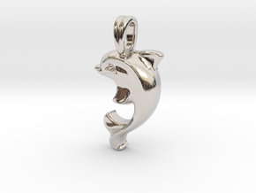 14k Gold Dolphin Necklace in Rhodium Plated Brass