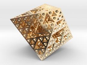 Sierpinski Octahedron Small in 14k Gold Plated Brass