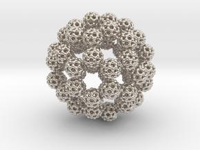 Fractal Fullerene Pendant in Rhodium Plated Brass