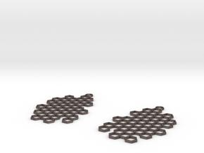 Honeycomb Drop Earrings in Polished Bronzed-Silver Steel