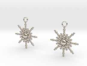 Snowburst Earrings in Rhodium Plated Brass