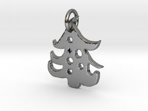 Christmas Tree Pendant in Fine Detail Polished Silver: Large