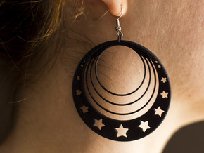 Moon and Star Earrings in Black Natural Versatile Plastic
