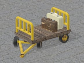 Train Luggage Cart in H0 1:87 scale (Small Set) in White Natural Versatile Plastic