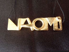 Naomi - Name Pendant 43mm in Polished Bronzed Silver Steel