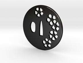 Tsuba sakura ume in Matte Black Steel