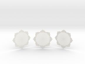 3 Fibocoasters in White Natural Versatile Plastic